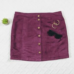 Sueded Snap Front Mini Skirt Mulberry